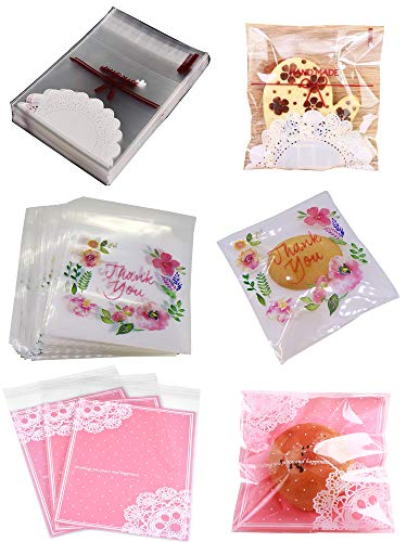 """Wootkey Candy Bags 300 pcs 5.5"""" Thank You Lace Bow Self Adhesive OPP Cookie Bakery Decorating Bags Biscuit Roasting Treat Gift DIY Plastic Bag"""