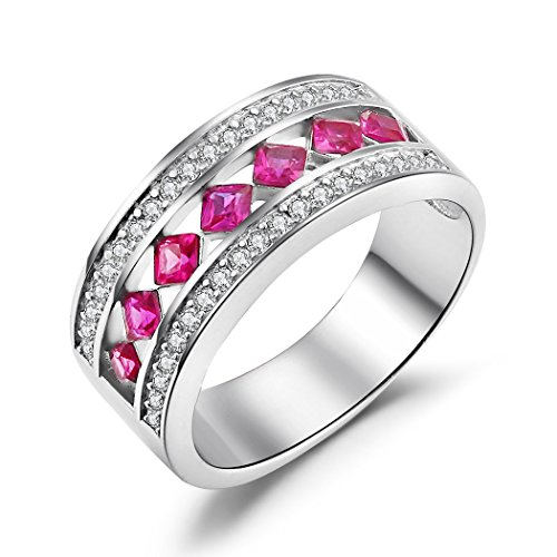 Caperci Women's Sterling Silver Cubic Zirconia & Princess Cut Created Ruby Wedding Band Ring Size 7 (Princess Cut Ruby)