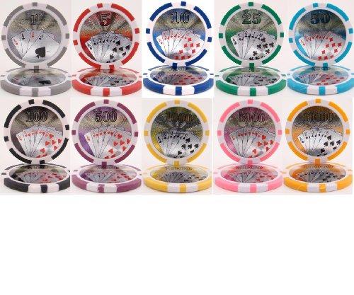 Royal Flush Laser Clay Poker Chip Sample Set - 10 New Chips (Clay Royal Flush)