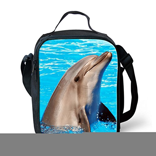Showudesigns Blue Dolphin Printing Lunch Bag for Office Work Gym Fruit (Dolphin Bag)