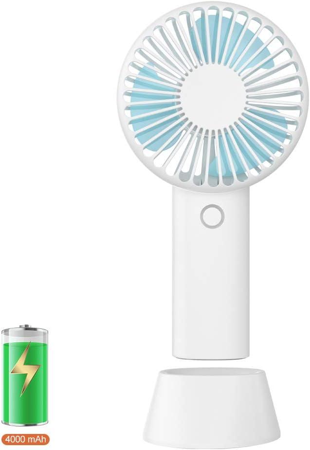 Mini Fan Small Fan USB Desk Fans Portable Handheld Fan Hands Free Personal Fan Battery Powered Standing Fan Quiet Rechargeable Desktop Fan for Room Bedroom Beach Travel Indoor and Outdoor White