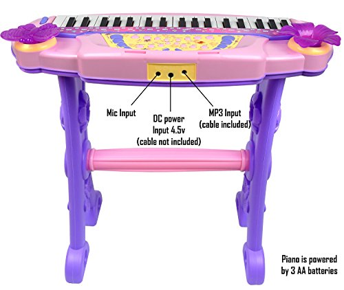 Kiddie-Play-Electronic-37-Key-Toy-Piano-Multi-function-Keyboard-with-Real-Working-Microphone-and-Stool-Pink
