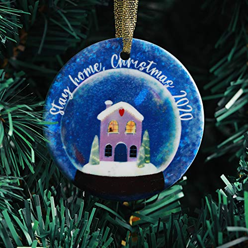 Inno-Huntz 2020 Christmas Ornament for Christmas Tree Ceramic Hanging Decoration Stay at Home Durable Pendant Holiday Christmas Family Ornaments Quarantine Wishes 2020 Celebration Décor