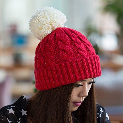 Flanger Lana Sombrero del del Bromista Sombrero Damas Versión Coreana Punto de Invierno a de otoño RED Punto Yellow Maozi Sombrero para Moda Coreana ZazqF
