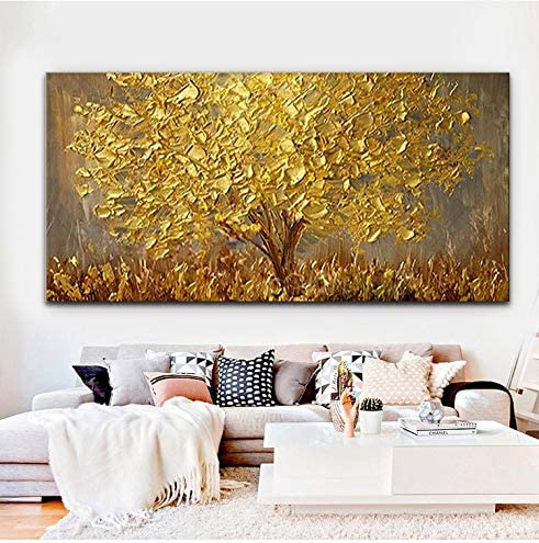 Faicai Art Thick Texture Gold Tree Paintings Canvas Wall Art Hand Oil Canvas Paintings 3D Palette Knife Canvas Artwork Wall Decor