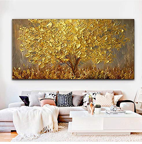 Faicai Art Thick Texture Gold Tree Paintings Canvas Wall Art Hand Oil Canvas Paintings 3D Palette Knife Canvas Artwork Wall Decor for Living Room Bedroom Office Stretched Ready to Hang 24