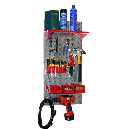 Wall Control 30-WGL-100 GVR Basic Utility Tool Storage Pegboard Organizer with Red Accessories