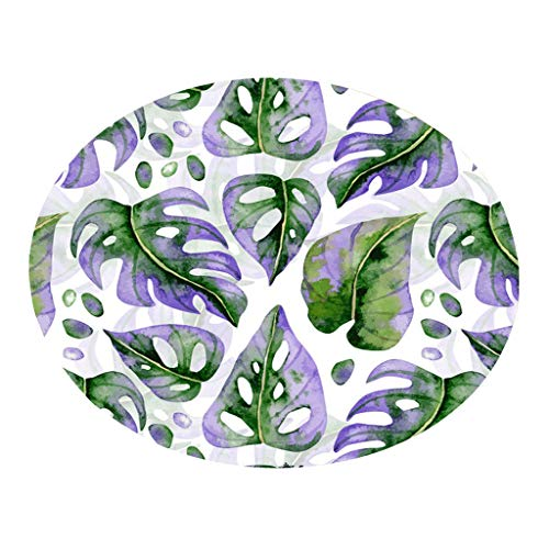 Tropical Plant Leaves Pattern Round Flannel Bathroom Kitchen Carpet 60cm Handmade Needlepoint Acrylic Area Rugs Bedroom Rugs (D)