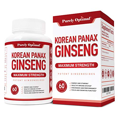 - Premium Korean Red Panax Ginseng 1200mg (Veg Caps) - Max Strength Root Powder Supplement w/Ginsenosides: Energy, Stamina, Endurance, Mental Health & Immune Support for Men and Women - 30 Day Supply