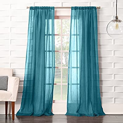"""No. 918 Tayla Crushed Texture Semi-Sheer Rod Pocket Curtain Panel, 50"""" x 84"""", Marine Teal - Soft linen-like crushed texture Gently filters light while enhancing privacy Rod pocket design allows for easy hanging on a standard curtain rod - living-room-soft-furnishings, living-room, draperies-curtains-shades - 51NBn%2BaP03L. SS400  -"""
