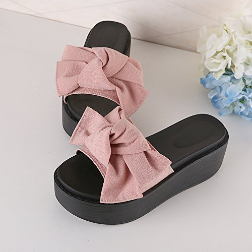 sandals are heel shoes and beach 37 to cool slippers the fankou Pink summer anti women's high slope slippery Thick ZwaOqn64P