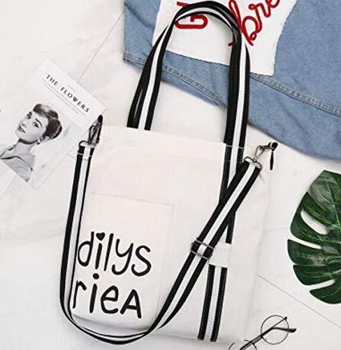 Toile Bandoulière Avec Fourre Main Et blanc Sacs En Femme Pour Shopping Noir Blanc Grande tout Sac À De Capacité qxvdwI1dY