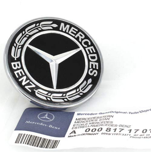 Guzetop Flat Hood Emblem for Mercedes Benz C E SL Class Ornament Logo Black 57MM