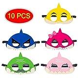 Palksky (10 pcs Little Shark Mask Set/Family Mask for Baby Kids Cosplay Party Favors Felt Half Mask Children Boys Girls Birthday Parties Supplies