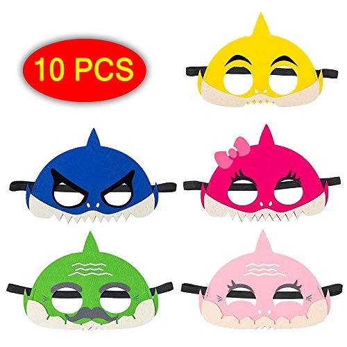 Palksky (10 pcs) Baby Little Shark Masks Set/Shark Family Masks for Kids Cosplay Party Favors Felt Half Mask Children Boys Girls Birthday Parties Supplies ()