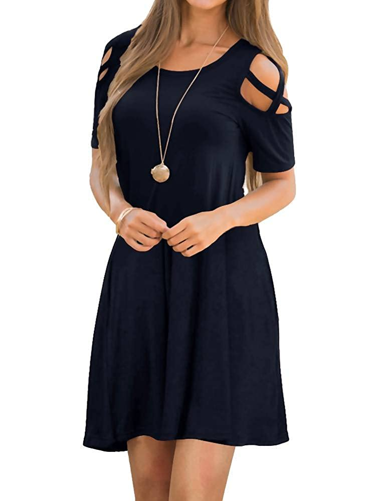 06navy bluee EZBELLE Women's Cold Shoulder Dresses with Pockets Loose Strappy T Shirt Swing Dress