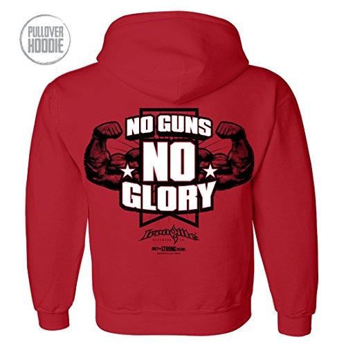 Ironville No Guns No Glory Bodybuilding Hoodie (3XL, red)