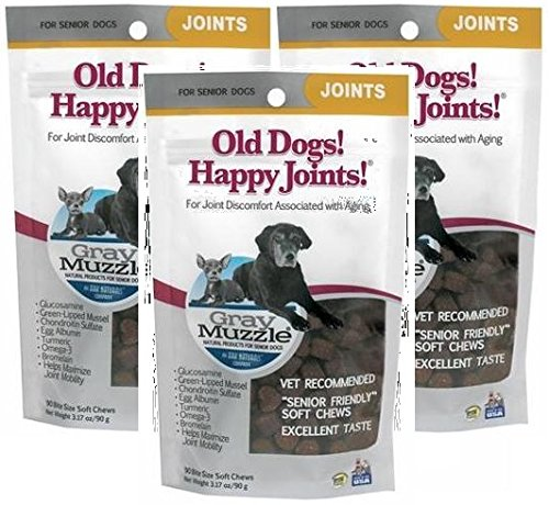 Gray Muzzle Old Dog! Happy Joints!, 90 Chews by Ark Naturals (Pack of 3)