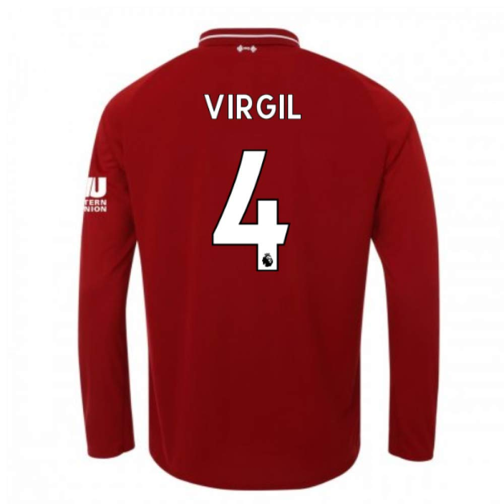 2018-2019 Liverpool Home Long Sleeve Football Soccer T-Shirt Trikot (Virgil Van Dijk 4)