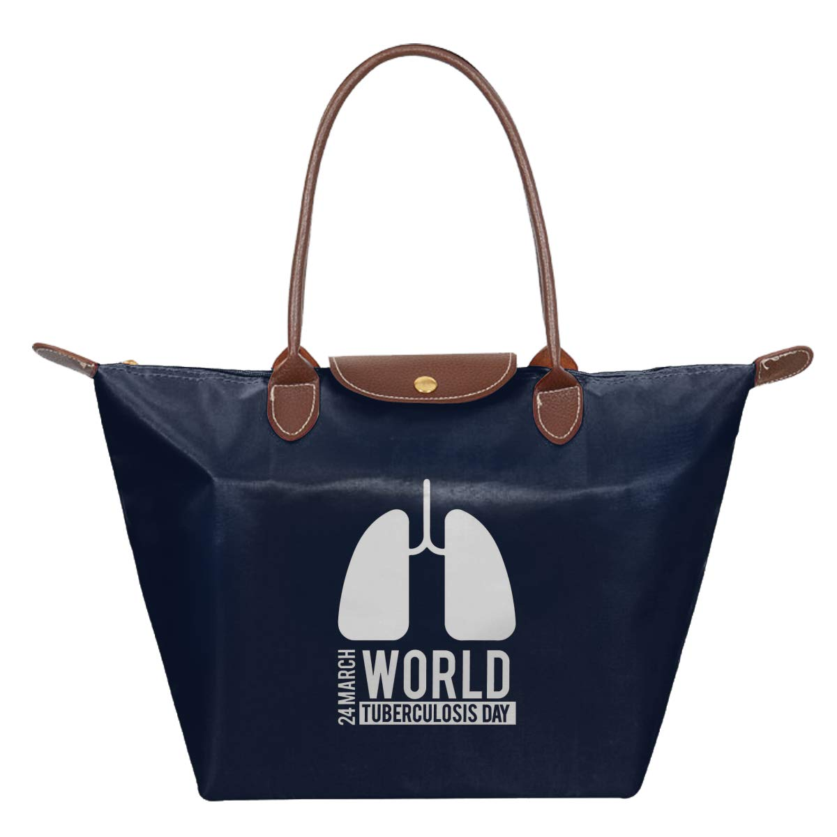 World Tuberculosis Day World TB Day Waterproof Leather Folded Messenger Nylon Bag Travel Tote Hopping Folding School Handbags