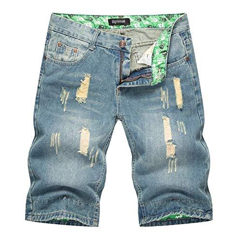 Estivi Pantaloni Festivo Abbigliamento Uomo Bermuda Strappati Jeans Fit Pantaloncini Da Lannister Slim Hellblau 0ganUqaw