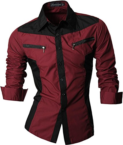 jeansian Men's Slim Fit Long Sleeves Casual Shirt Z018 WineRed L - Guess Designer Clothing
