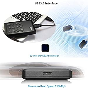 Encrypted Portable External Hard Drive - Netac K390 1TB USB 3.0 Keypad Lock 256-bit AES Physical Hardware Encryption Secure HDD Disk