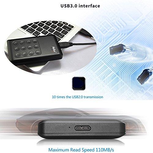 Encrypted Portable External Hard Drive - Netac K390 1TB USB 3.0 Keypad Lock 256-bit AES Physical Hardware Encryption Secure HDD Disk by Netac (Image #2)