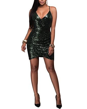 b4d1ab97cae47 Women's Strappy Sequin Cut Out Bodycon Dress Sexy Party Dress ...