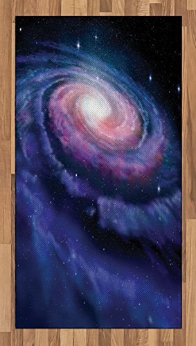 Outer Space Area Rug by Lunarable, Spiral Cosmic Energy with Dark Nebula Cloud Burst Solar System Universe Image, Flat Woven Accent Rug for Living Room Bedroom Dining Room, 2.6 x 5 FT, Blue Purple by Lunarable
