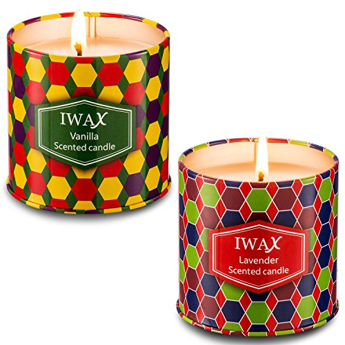 Iwax Scented Candles (Lavender Vanilla), 2 x 7-Ounce Vegan Natural Soy Wax Tins Candle, Gift Birthday, Christmas Holiday(2 Pack)