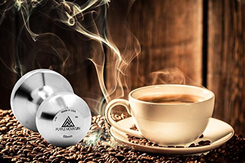 Made in USA | Tamper for Espresso Coffee | by Purple Mountain | 58mm/53mm/51mm/49mm | Solid Stainless Steel | Heavy | Professional Barista Quality | …