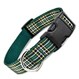 The Artful Canine Irish National Plaid Dog Collar Large Dogs 35-60lbs (Collar: 1' wide, 12' - 20 long)