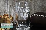 St Louis Rams Jumbo 28.5oz Hand Etched Glass Beer Mug