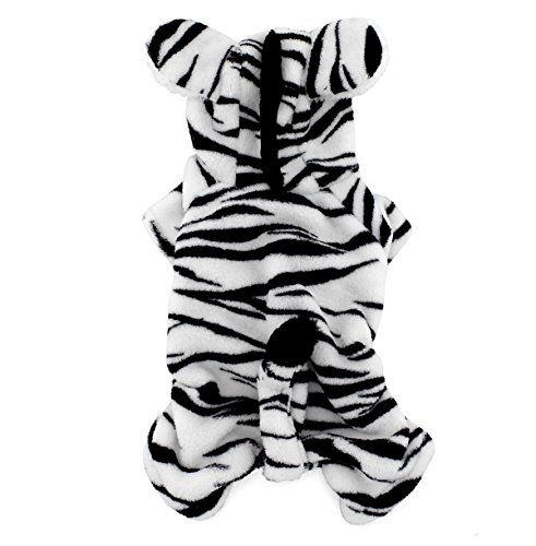 SMALLLEE_LUCKY_STORE Pet Clothes for Small Dog Cat Fleece Zebra Costume Hooded Jumpsuit Coat Pajamas Christmas Fancy Dress L