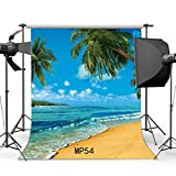 Gladbuy 2X2FT Beach Backdrop Seaside Coconut Tree Forest Trees Island Waves Blue Sky White Cloud Nature Summer Holiday Sailing Vinyl Photography Background Dogs Pets Cakes Photo Studio Props MP54