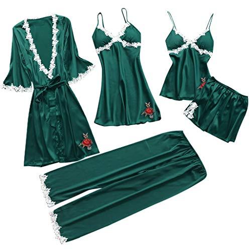 BOLMI Women 5PC Silk Nightgown Sexy Lace Lingerie Nightwear Underwear Babydoll Sleepwear Dress 5PC Suit ()