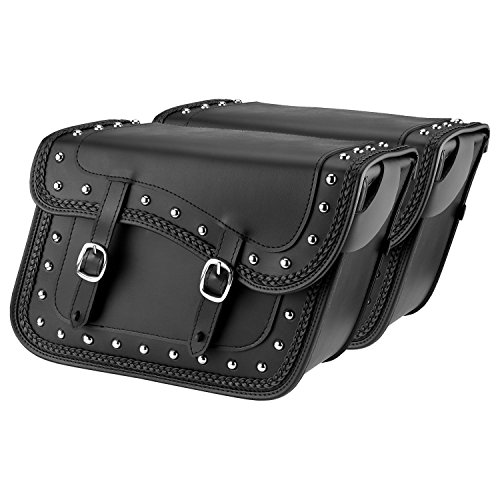 Nomad USA Leather Slanted Motorcycle Saddlebags w/Quick Release Buckles (Braided & Studded)