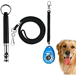 Golvery Dog Training Whistle with Lanyard, Dog Whistles for Sonic Barking Deterrents, Dog Obedience Behavioral Aids with Adjustable UltraSonic Frequency and Dog Training Clicker with Wrist Strap