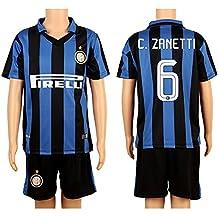 Blue & Black #6 Zanetti Home Kids Youth Soccer Jersey (2015/16)