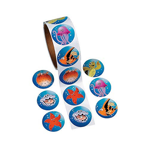 Fun Express - Tropical Sea Life Stickers for Summer - Stationery - Stickers - Stickers - Roll - Summer - 100 Pieces
