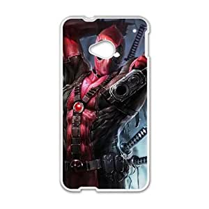 Deadpool HTC One M7 Cell Phone Case White Transparent Protective Back Cover 1325