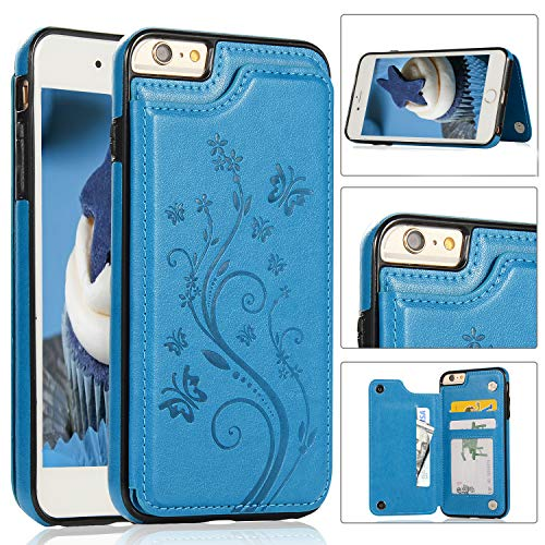 iPhone 6S Plus Wallet Case with Card Holder, Akimoom Butterfly Embossed Double Magnetic Clasp Leather Kickstand Card Slots Protective Skin Case Cover for Apple iPhone 6/6S Plus 5.5 Inch(Blue)