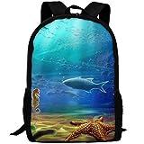 OIlXKV Fish Starfish Sea Horse Print Custom Casual School Bag Backpack Multipurpose Travel Daypack For Adult