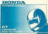 31MN4600 1987 Honda CBR600F Hurricane Motorcycle Owners Manual