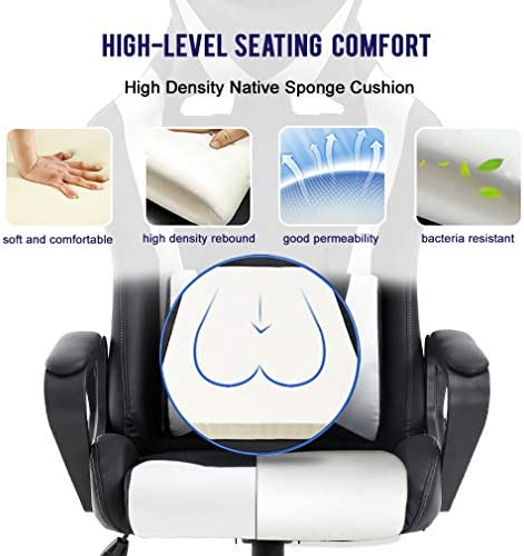 Ergonomic Office Chair PC Gaming Chair Desk Chair PU Leather Racing Chair Executive Computer Chair Swivel Rolling Lumbar Support for Women&Men, White 51NBr8c97UL