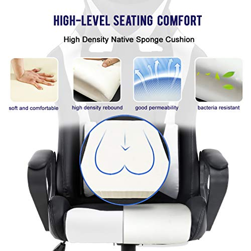 High Back Gaming Chair PC Office Chair Racing Computer Chair Task PU Desk Chair Ergonomic Swivel Rolling Chair with…