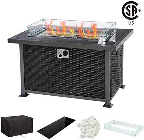 U-MAX 44 Inch Outdoor Auto-Ignition Propane Gas Fire Pit Table, 50,000 BTU CSA Certificate Gas Firepit Aluminum Fame Wicker PE Rattan with Glass Wind Guard,Tempered Tabletop White Arctic Gla, Black
