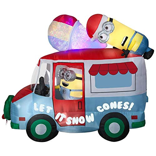 Gemmy Minions Despicable Me Inflatable Snow Cone Holiday Truck with Swirling Kaleidoscope Indoor/Outdoor Holiday Decoration]()