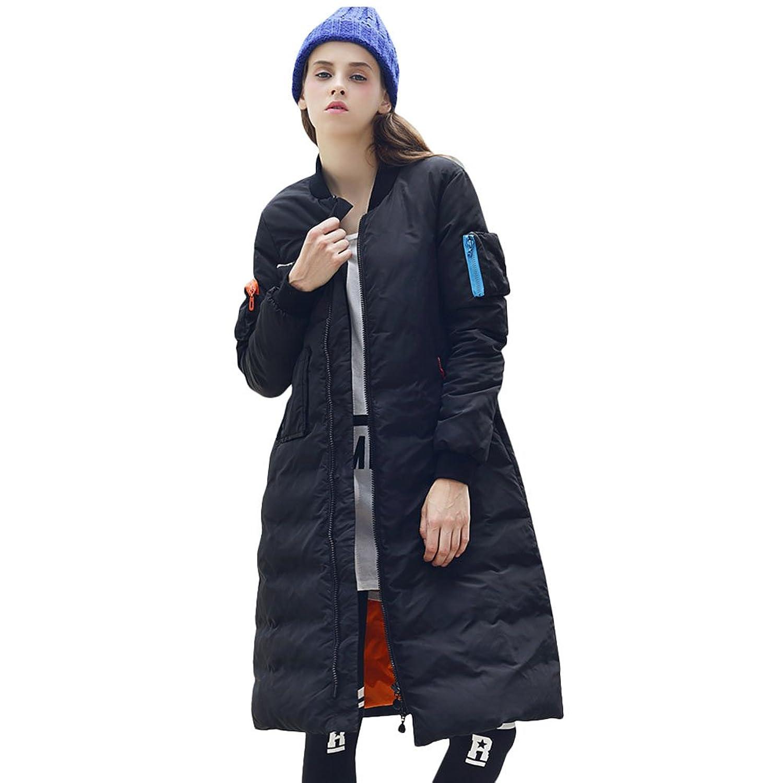 KE Womens Winter-unten verdicken langer Abschnitt dünne Jacke starke warme Mantel-Mantel